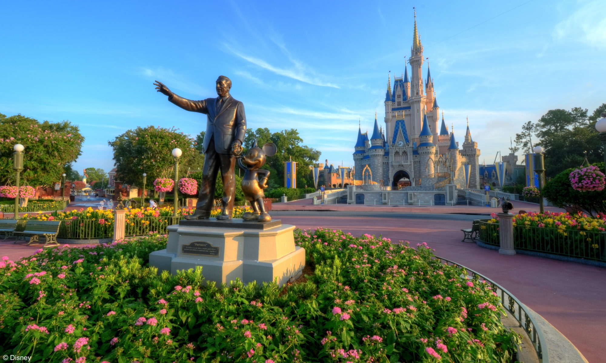 Walt Disney World's Magic Kingdom with Partners Statue and Cinderella Castle